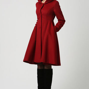 Red Wool Midi Coat with Hood (1117)