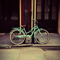 Turquoise Bike Stretched Canvas by Erin Johnson