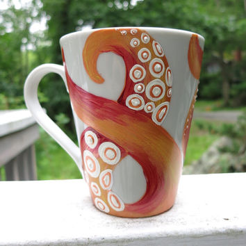 Hand painted orange octopus tentacle mug