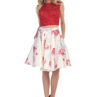 Two Piece Homecoming Dress Formal Prom Short Cocktail