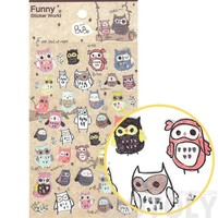 Illustrated Owls in Different Shapes Animal Themed Stickers for Scrapbooking