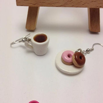 ON SALE Coffee and Donuts Earrings, Polymer Clay Earrings, Handmade, Mismatched Earrings, Mini Food Jewelry, Miniature Food, Kawaii, Cute Gi