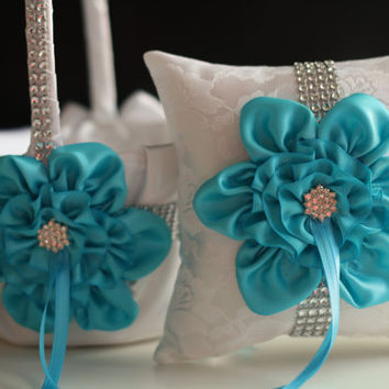 Turquoise Wedding Pillow Basket Set \ Turquoise Ring Bearer Pillow, Flower Girl Basket Set \ White and Blue Lace Ring Holder + Petals Basket