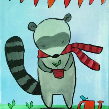 Woodland  Nursery Decor, Original Painting, Raccoon Kids Wall Art, Garden