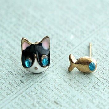 kitty and fish earrings