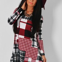 Duffy Monochrome & Wine Patchwork Print Swing Dress | Pink Boutique