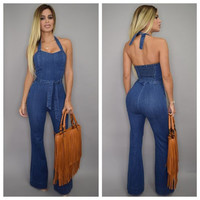 Halter Belted Denim Jumpsuit