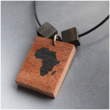 """Africa""  Wooden Beaded Necklace"