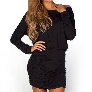 Daniela Black Off Shoulder Jersey Tunic Dress