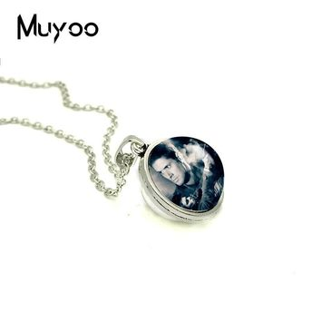 2018 New Dean Winchester Double Sided Pendant Supernatural Necklace Hand Craft Jewelry Glass Dome Photo Pendants