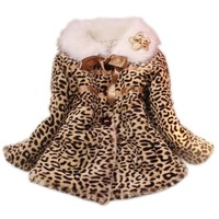 Baby Toddler Girls Princess Faux Fur Leopard Coat Girls Warm Jacket Snowsuit Clothing