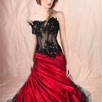A-Line Strapless Black and red colour with sweep train cheap 2012 Agora wedding gowns BABG008 -Shop offer 2012 wedding dresses,prom dresses,party dresses for girls on sale. #Category#