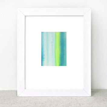 Watercolor Painting - ombre stripes - blue neon green - summer - beach surf water - modern minimal - abstract art
