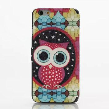 Cute Owl Leather Case Cover for iPhone 6S 6 Plus Samsung Galaxy S6-170928