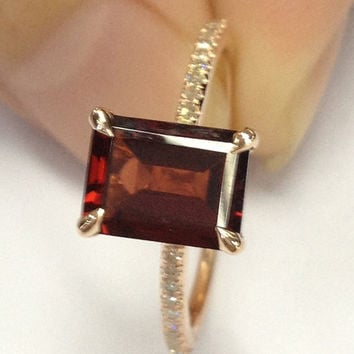 Garnet Engagement Ring 14K Rose Gold!Diamond Wedding Bridal Ring,6x8mm Emerald Cut VS Natural Red Gemstone,Prong,Pave set,Design Match Band