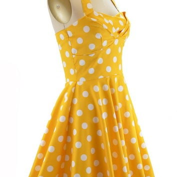50s Style YELLOW Polka Dot TRAVELING CAKEPOP TRUCK Dress with HALTER Petal Bust