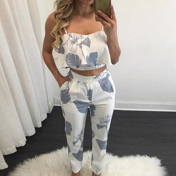 Sexy Ladies Print Hollow  Two Piece Jumpsuits