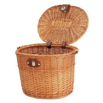 Bicycle Basket Mountain Bike Electric Car Willow Basket Vegetable Basket Environmental Friendly Front Basket Bicycle Accessory