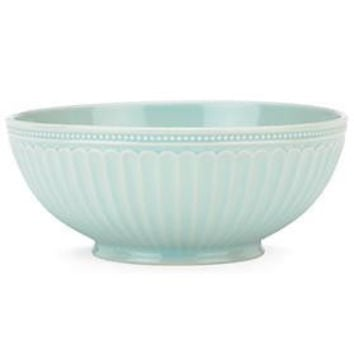 French Perle Groove Ice Blue Serving Bowl Ice Blue by Lenox