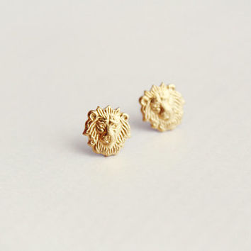 roar - lion head earring studs - dainty, delicate, minimalist raw brass jewelry