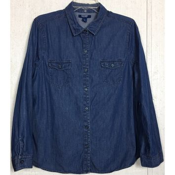 Old Navy Chambray Shirt Dark Wash Blue Button Up Blouse Top Cotton Western L