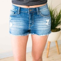 Catchin' Vibes Frayed Hem Denim Shorts
