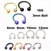 2Piece Free Shipping Stainless Steel Nostril Nose Ring Sircular piercing ball Horseshoe Rings CBR ring BCR earring