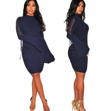 LaceUp Bodycon Dress with Wide Cuffs