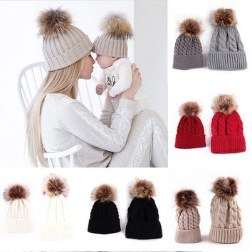 Mother & Baby Daughter/Son Winter Warm Knit Hat Family Crochet Fur Ball Beanie Cap Gift