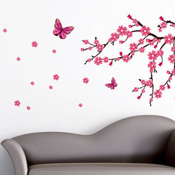 Cherry Blossoms with Butterflies Wall Decals - beautiful floral decor