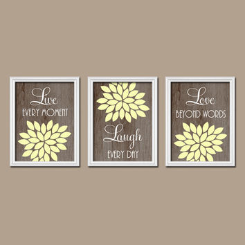 Yellow Brown Wood Grain Custom Live Laugh Love Colors Flower Burst Petals Artwork Set of 3 Prints Decor Bedroom WALL ART Bathroom Nursery