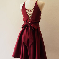 Prom Dress Crisscross Dress Dark Maroon Dress Knee Party Dress Maroon Cocktail Dress Bridesmaid Bridal Dress Boho Party Style