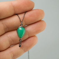 CLEARANCE - Chrysoprase Necklace -  Cabochon Chrysoprase Drop - Black Oxidized Silver Pendant - Gunmetal Mother's Day Gift