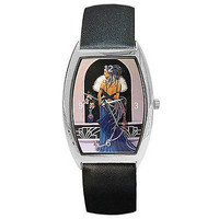 Art Deco Lady in Blue Gown on a Women's Barrel Watch w/ Leather Bands