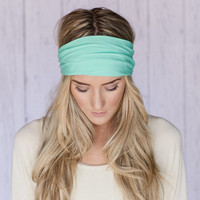 Mint Headband Turband Head Wrap Stretchy SOLID by ThreeBirdNest