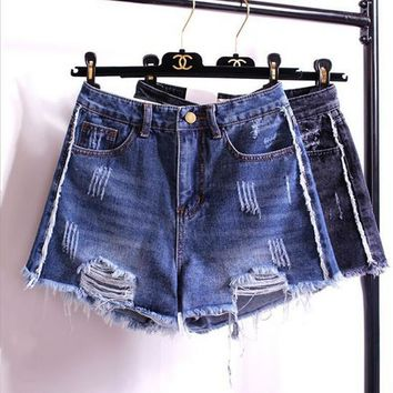 Personality Fashion Irregular Worn Ripped Tassel Edge High Waist Wide Leg Denim Shorts Hot Pants Jeans