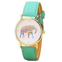 Elephant Print Gold Dial Leather Quartz Watch Mint Green