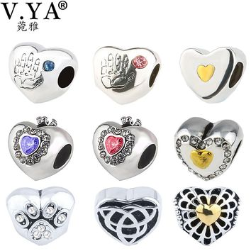 V YA Amazing Heart Shape Beads fit for Pandora Necklaces Bracelets Women's Men's Christmas' DIY Jewelry