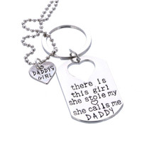 Daddy's Girl Heart Pendant Necklace & keychain Father's Jewelry Gift