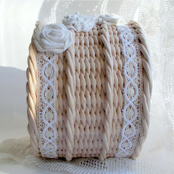 "Decorative handmade wicker basket from paper ""Tenderness roses"""