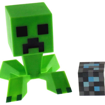"Minecraft Creeper 6"" Vinyl Figure 2"" Diamond Block Moveable Head Jinx Mojang NIP"