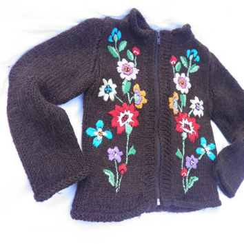Children's  brown Sweater with floral pattern/ Baby wool Sweater/ Eco Friendly Cardigan Childrens