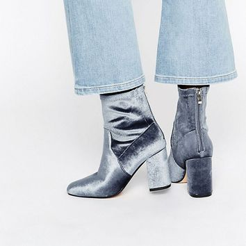 Truffle Gray Velvet High Ankle Boot at asos.com
