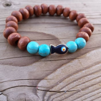 Evil Eye Bracelets, Evil Eye Protection Bracelets, Wood Bead Bracelets, Turquoise Fish Evil Eye  Beaded Wrist Mala