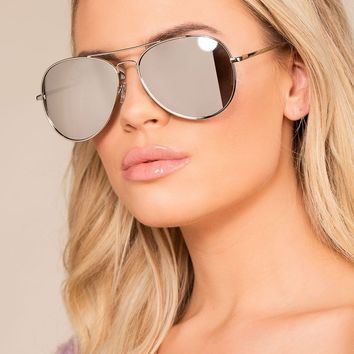 Walking On Sunshine Silver Mirrored Aviator Sunglasses