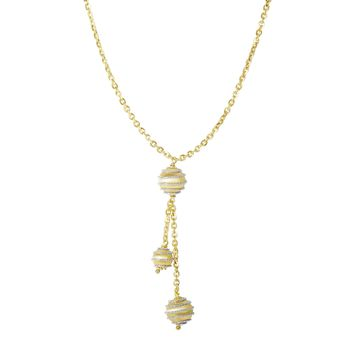 14K Yellow-White Gold 8.7-1.8mm Shiny+Diamond Cut 3 Satin Swirl Hanging Bead On 1.8mm Oval Link Lariat Type Fancy Necklace with Lobster Clasp