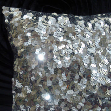 silver sequins glitter cushion in size 12 inch x12 inch