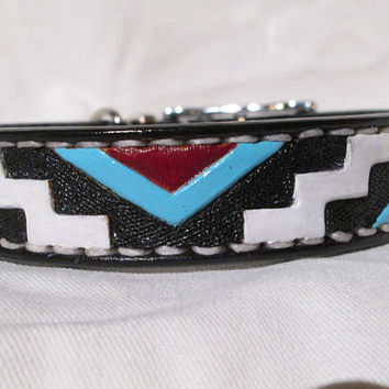 Medium dog collar, leather collar, red, white, turquoise tooled collar, King Cavaliers, Blenheims