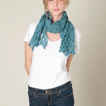Cobweb Sea Scarf wool felt, blue teal lighweight women scarves by Texturable