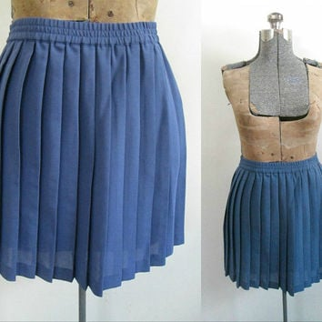 Periwinkle Pleated Mini Skirt / Vintage Esprit New Deadstock